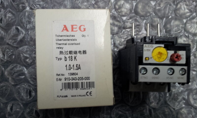 AEG B18K 1.0-1.5A THERMAL OVERLOAD RELAY 910-343-205-000 139604