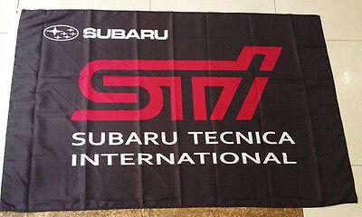2017 SUBARU STI FLAG BANNER SIGN BLACK 3X5 FT SUBARU TECNICA INTERNATIONAL FLAG
