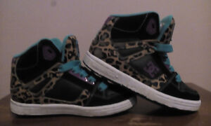 Girls leopard print DC high top shoes size 12