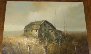 """Vintage Oil Painting of a Barn - 30"""" x 20"""""""
