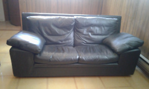 Black Two Seat Leather Couch:Sofa