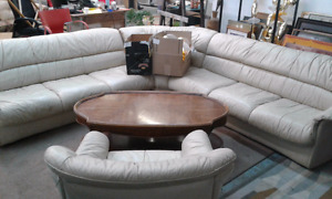 off white leather sectional with matching chair and ottoman