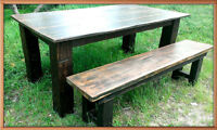 Now available handcrafted with 150 yr old barnwood table/bench