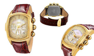 JBW Men's Caesar Diamond Watches J6113 Gold and Brown Leather