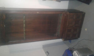 Antique wood cabinet with light