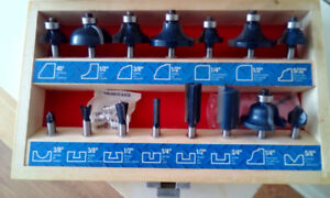 MasterCraft router bits in wooden case