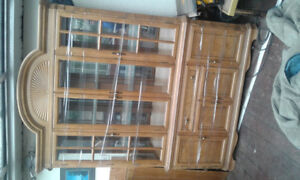 2 pedistal large table and matching hutch priced to sell
