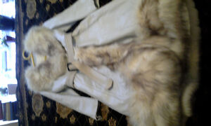 Leather and fox fur white coat size small