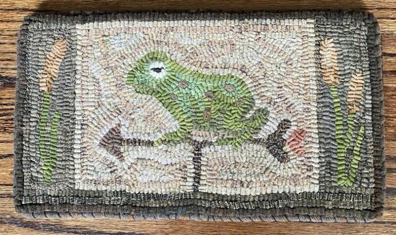 Hand Hooked Wool Rug, Frog Weather Vane by Kimberly Edgerly