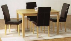 BRAND NEW Pine Wood / Solid Wood Robert Dining Table/Set With 4 Upholstered chairs 179 ONLY
