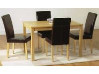 New Solid Oak Dining Table Set with 4 or 6 Leather Foam Cushioned Chairs