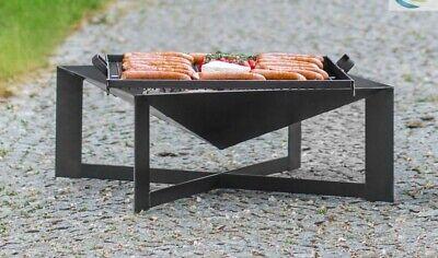 Feuerschale und Grillrost aus Stahl - Feuerkorb Grillfeuer Feuerstelle  70x70 cm