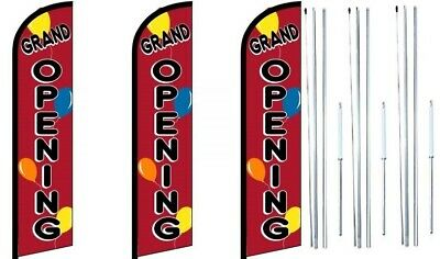 Grand Opening Balloons Windless Flag With Hybrid Pole Set 3 Pack