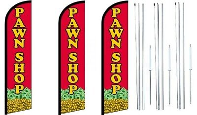 Pawn Shop Windless Flag With Hybrid Pole Set 3 Pack
