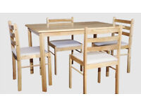 NEW CLEARANCE DINING STARTER NATURAL COLOUR FACTORY ASSEMBLED DINING TABLE + 4 CUSHION TOP CHAIRS