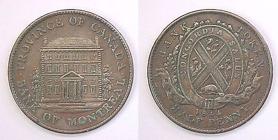 1844 Bank Of Montreal One Half Penny Bank Token Xf Extremely Fine