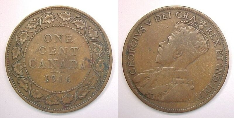 1916 Canadian Large Cent  Very Good VG