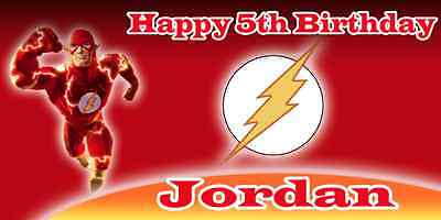 Birthday banner Personalized 4ft x 2 ft The Flash - Cheap Birthday Decorations