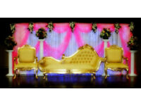 Asian Wedding Decoration, Mehndi stages, crystal stages, Mandap , swing and walkway pillars