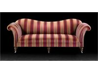 Chesterfield 3 Seat Antique Style Louise XVI Chaise Stripe Fabric Sofa