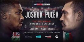 Anthony Joshua Vs Kubrat Pulev Boxing Tickets x 2 at Principality Stadium 28th October 2017