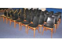 """Lot 40 """"Benchairs"""" Stacking Wooden Chairs, Office, School, Dining Room, Cafe, Canteen, Function Hall"""