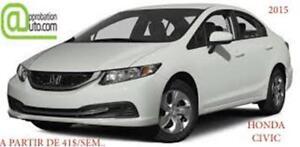 2015 Honda Civic Berline LX, À PARTIR DE 41$/SEM. 100% APPROUVÉ