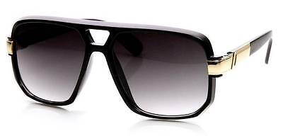 Classic Square Frame Plastic Flat Top Aviator Sunglasses Turbo Vintage Black