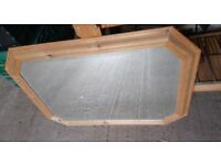 Pine surround mirror ideal for living room, dining room or bedroom, hangs landscaped, shaped frame