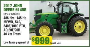 LOW HOUR LEASE RETURNS! 2017 6145R JOHN DEERE TRACTOR