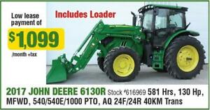 LOW HOUR LEASE RETURNS! 2017 JOHN DEERE 6130R WITH LOADER