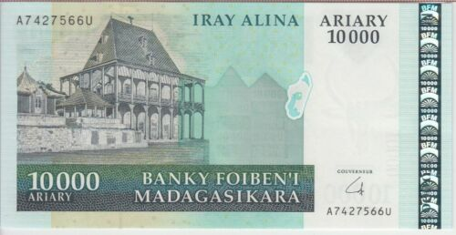 Madagascar Banknote P92b 10,000 10.000 10000 Ariary Prefix A, UNC