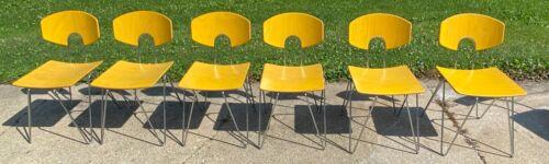 6 Vintage Mid Century Modern Kusch Stackable Bentwood Hair Pin Leg Chrome Chairs