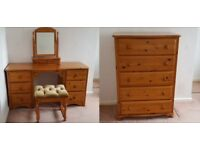 M&S St Michael Furniture Honey Pine Bedroom Dresser, Mirror and Stool and Chest of Drawers