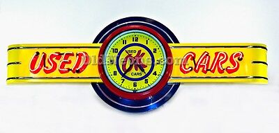 OK USED CARS NEON CLOCK SIGN - 6' LONG -  MADE IN USA! CHEVROLET GAS OIL SIGN