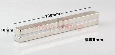 Lot Strong Big Strip Block Cuboid Magnet 100 X 10 X 5mm Rare Earth Neodymium N50
