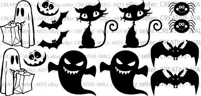 Halloween Silhouette 14pc Set Stickers Window Wall Decals Home Decorations Vinyl - Halloween Silhouette Stickers