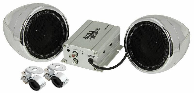 "Boss MC420B 3"" Bluetooth Speakers 2-Channel Amplifier Motorcycle/ATV Handle Bar"