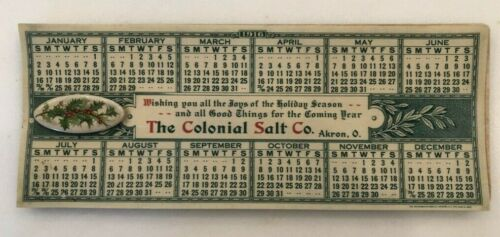 1916 CHRISTMAS HOLLY Colonial SALT Advertisng CELLULOID BLOTTER Calendar ANTIQUE