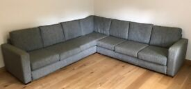 Six seat, hard wearing green corner sofa for sale, 3 connecting pieces, will fit in a van or trailer