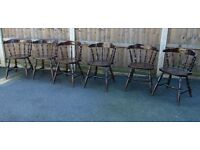 Six matching spindle back captains smokers bow chairs gentlemen's club chairs