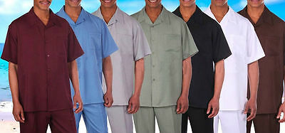 Men's Casual 2-Pc Spring/Summer Leisure Short Sleeve Walking Suit and Pants (Mens Short Suit)