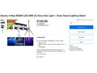Beamz 4-Way RGBW LED DMX DJ Disco Bar Light + Party Tripod Lighting Stand