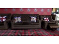 Fantastic Vintage Chesterfield 3 Seater Sofa, Recliner Chair & Chair Velour - Uk Delivery