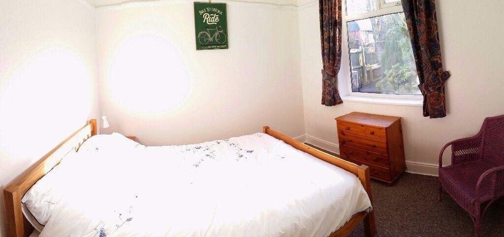Double room in quiet spacious flat with garden.