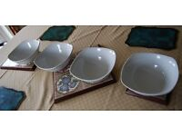4 Square Rounded Serving Bowls - 22cm