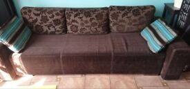 Large sofa bed with armchair and stool