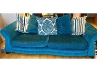 Beautiful 4 Seater Teal DFS Sofa / Couch