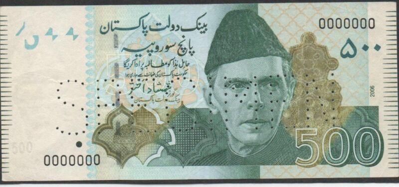 Pakistan , 500 Rupees , 2006 , P 49s , all zeros Specimen  , Rare , Uncirculated