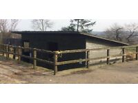 Double Wooden Stable Block/Stables damaged roof but sound walls and doors.